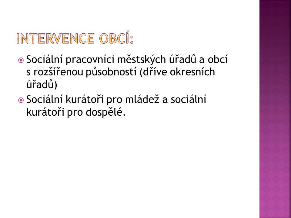 Intervence obcí: Sociální pracovníci městských úřadů a obcí s rozšířenou působností (dříve okresních úřadů)