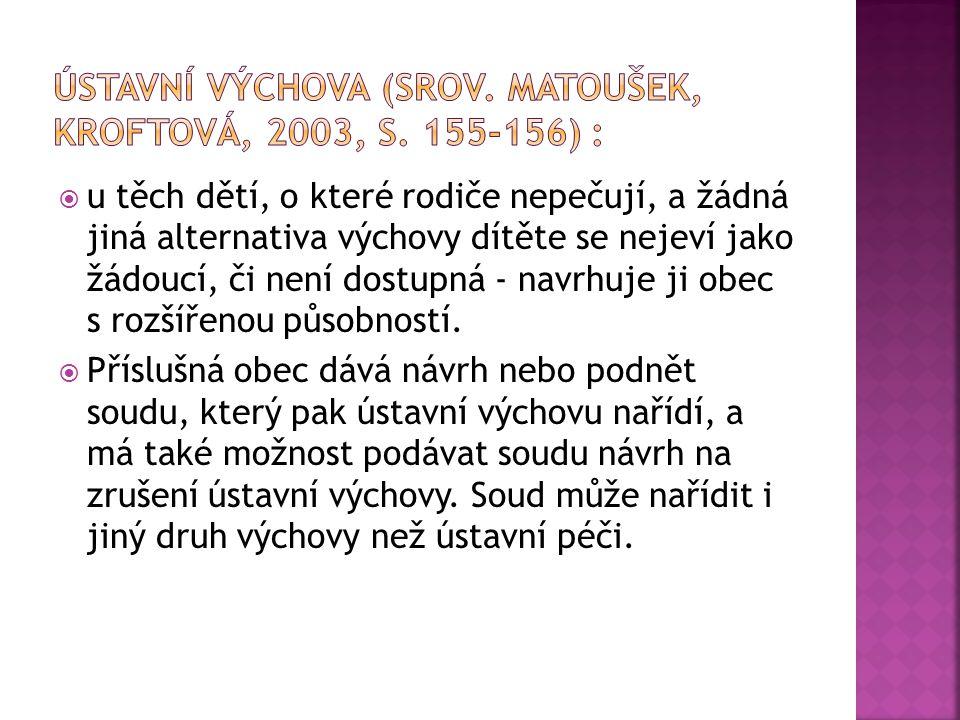Ústavní výchovA (Srov. Matoušek, Kroftová, 2003, s. 155-156) :