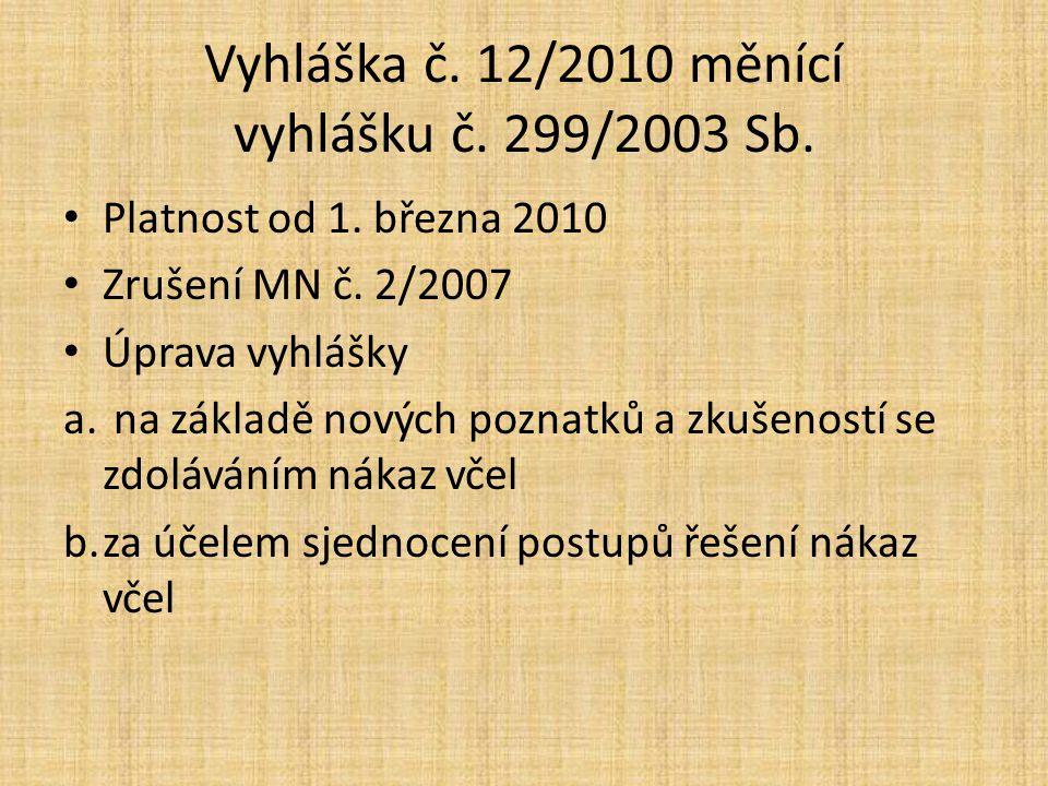 Vyhláška č. 12/2010 měnící vyhlášku č. 299/2003 Sb.
