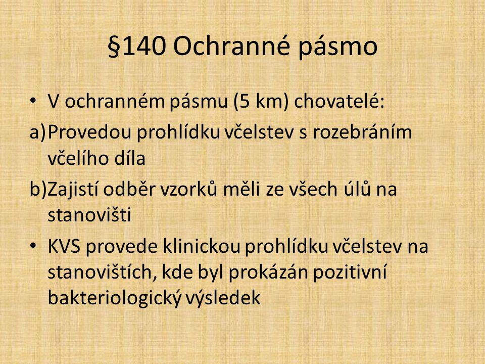 §140 Ochranné pásmo V ochranném pásmu (5 km) chovatelé: