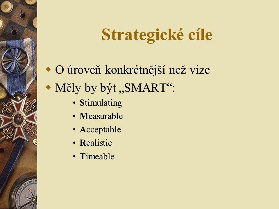 """Strategické cíle O úroveň konkrétnější než vize Měly by být """"SMART :"""