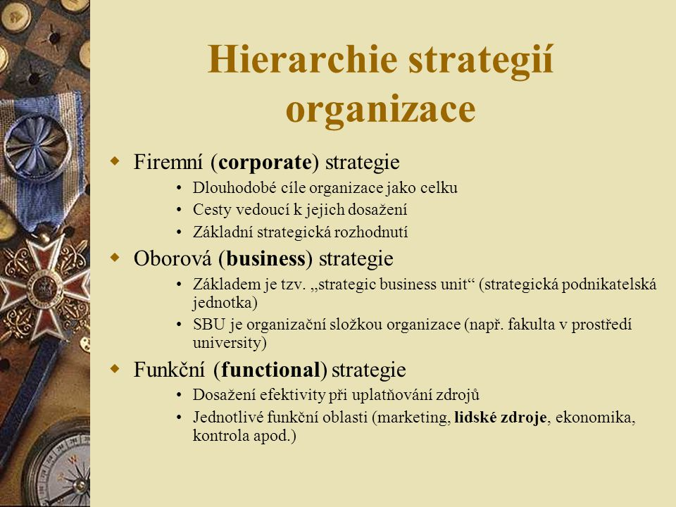 Hierarchie strategií organizace
