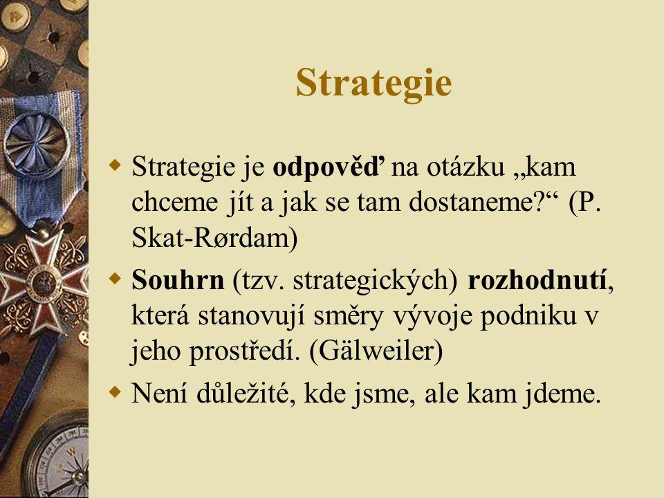 """Strategie Strategie je odpověď na otázku """"kam chceme jít a jak se tam dostaneme (P. Skat-Rørdam)"""