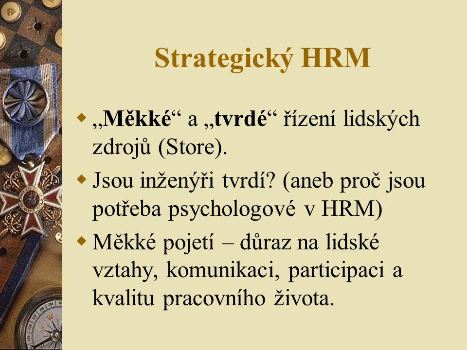 """Strategický HRM """"Měkké a """"tvrdé řízení lidských zdrojů (Store)."""