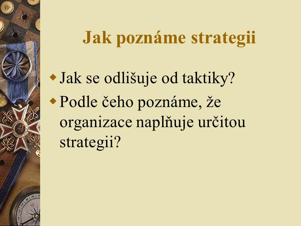 Jak poznáme strategii Jak se odlišuje od taktiky