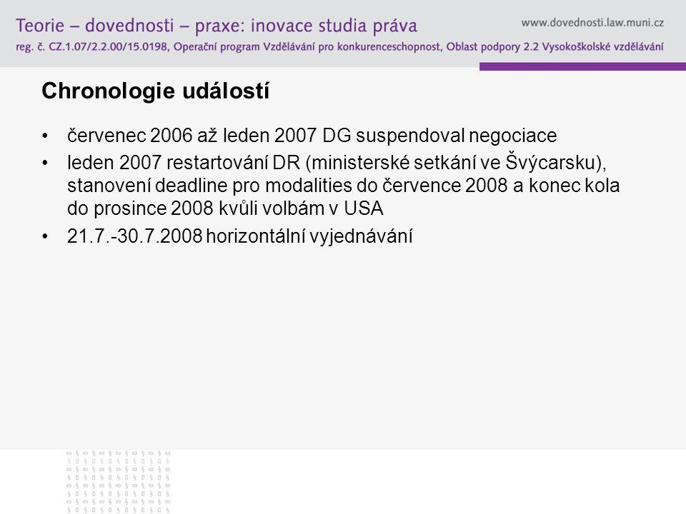 Chronologie událostí červenec 2006 až leden 2007 DG suspendoval negociace.