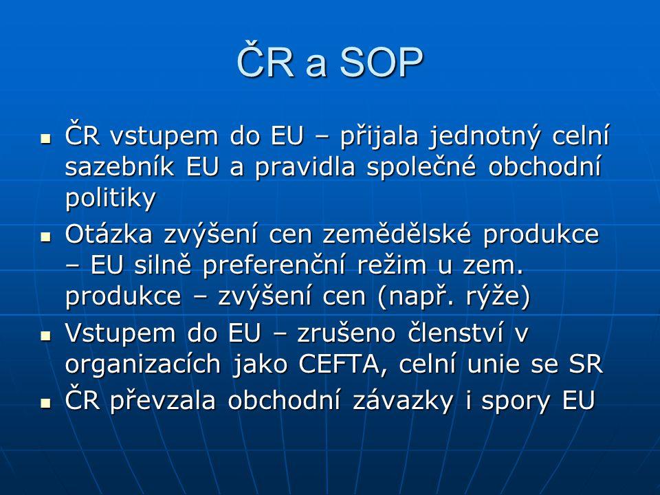 ČR a SOP ČR vstupem do EU – přijala jednotný celní sazebník EU a pravidla společné obchodní politiky.