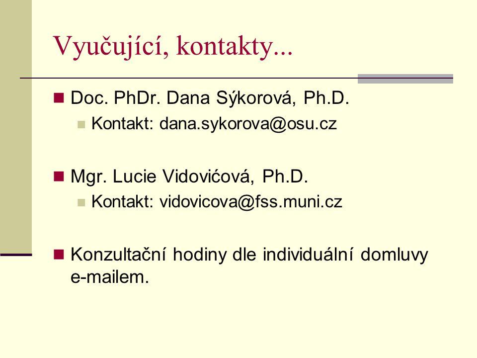 Vyučující, kontakty... Doc. PhDr. Dana Sýkorová, Ph.D.