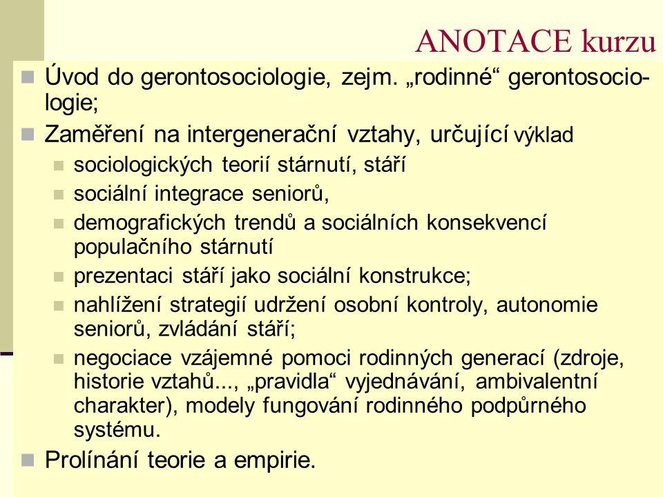 """ANOTACE kurzu Úvod do gerontosociologie, zejm. """"rodinné gerontosocio-logie; Zaměření na intergenerační vztahy, určující výklad."""
