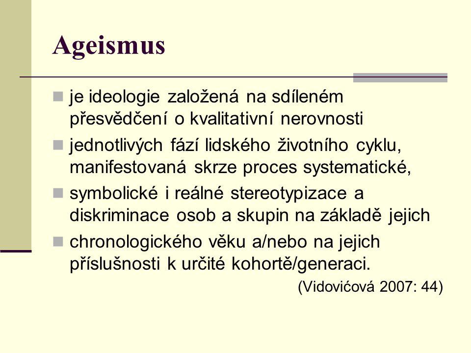 Ageismus je ideologie založená na sdíleném přesvědčení o kvalitativní nerovnosti.