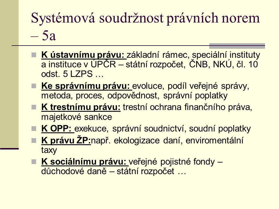 Systémová soudržnost právních norem – 5a