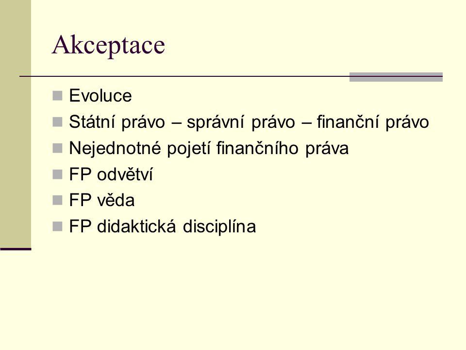 Akceptace Evoluce Státní právo – správní právo – finanční právo