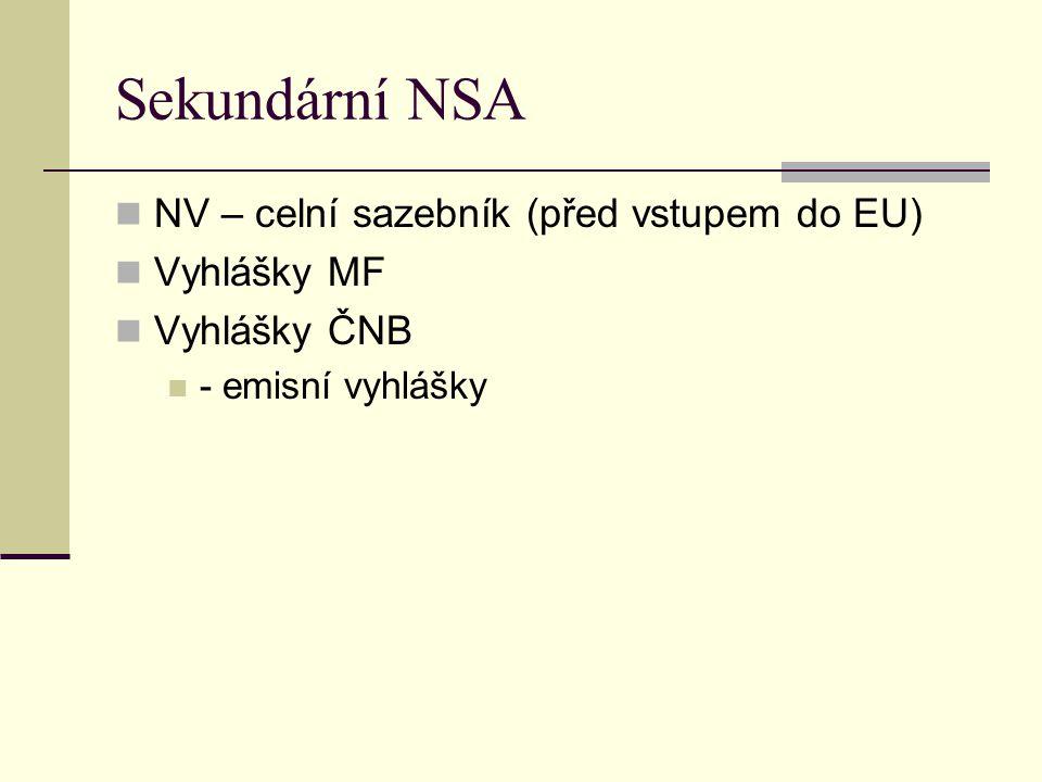 Sekundární NSA NV – celní sazebník (před vstupem do EU) Vyhlášky MF