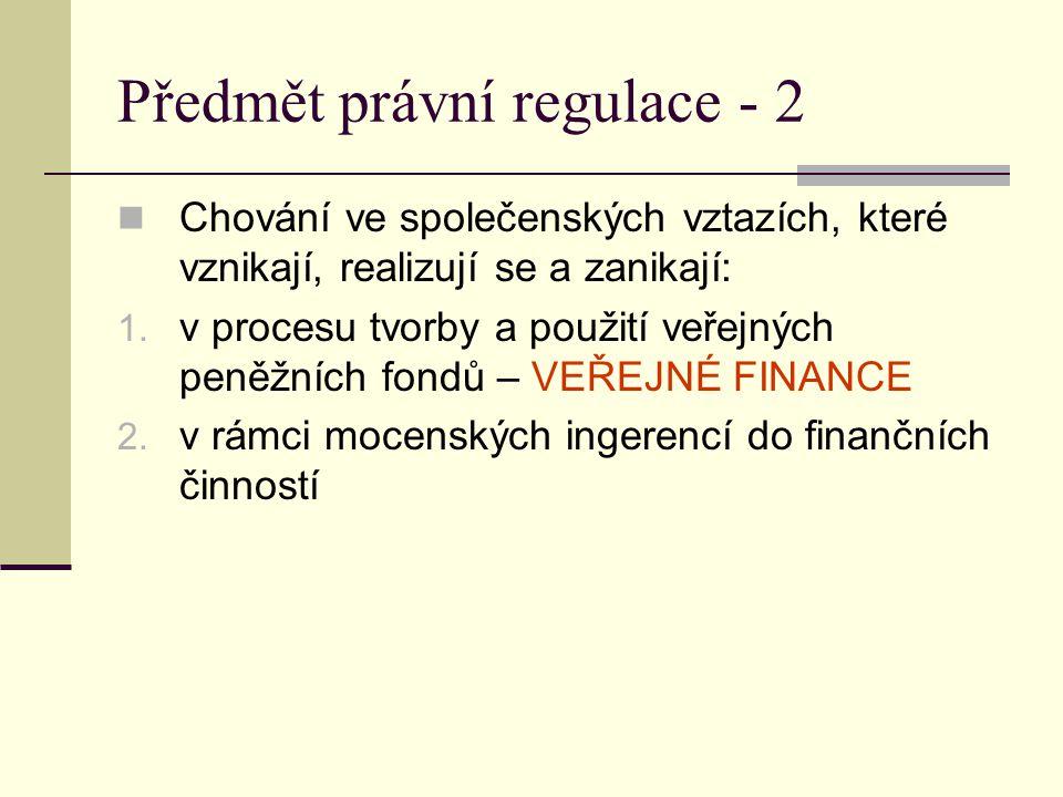 Předmět právní regulace - 2