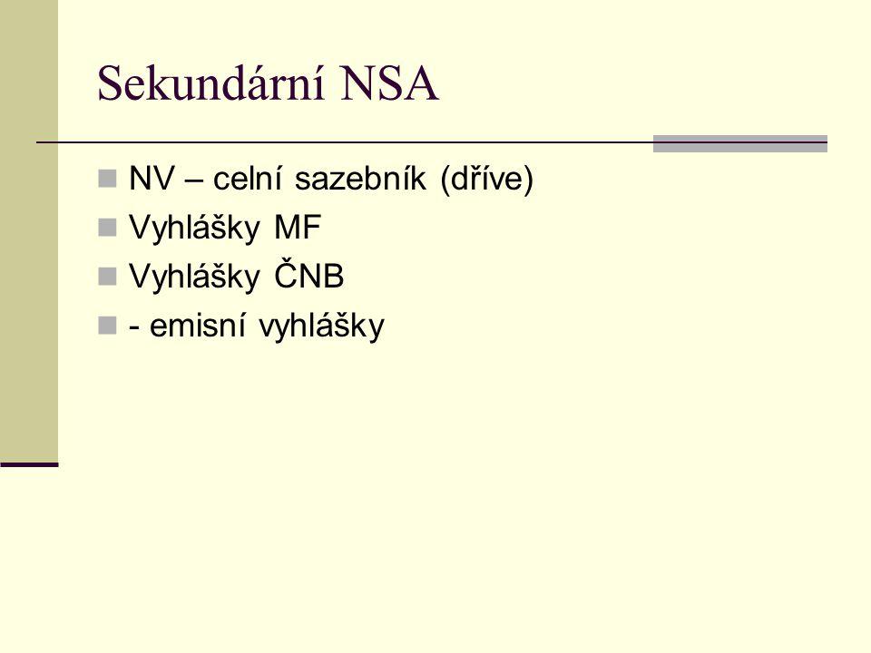 Sekundární NSA NV – celní sazebník (dříve) Vyhlášky MF Vyhlášky ČNB