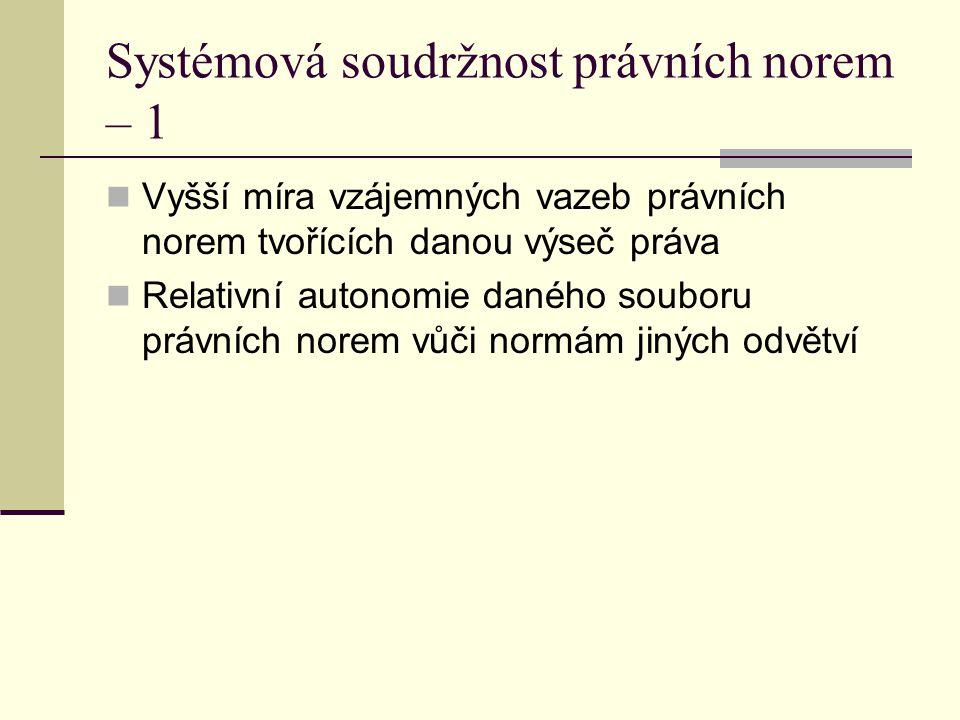 Systémová soudržnost právních norem – 1