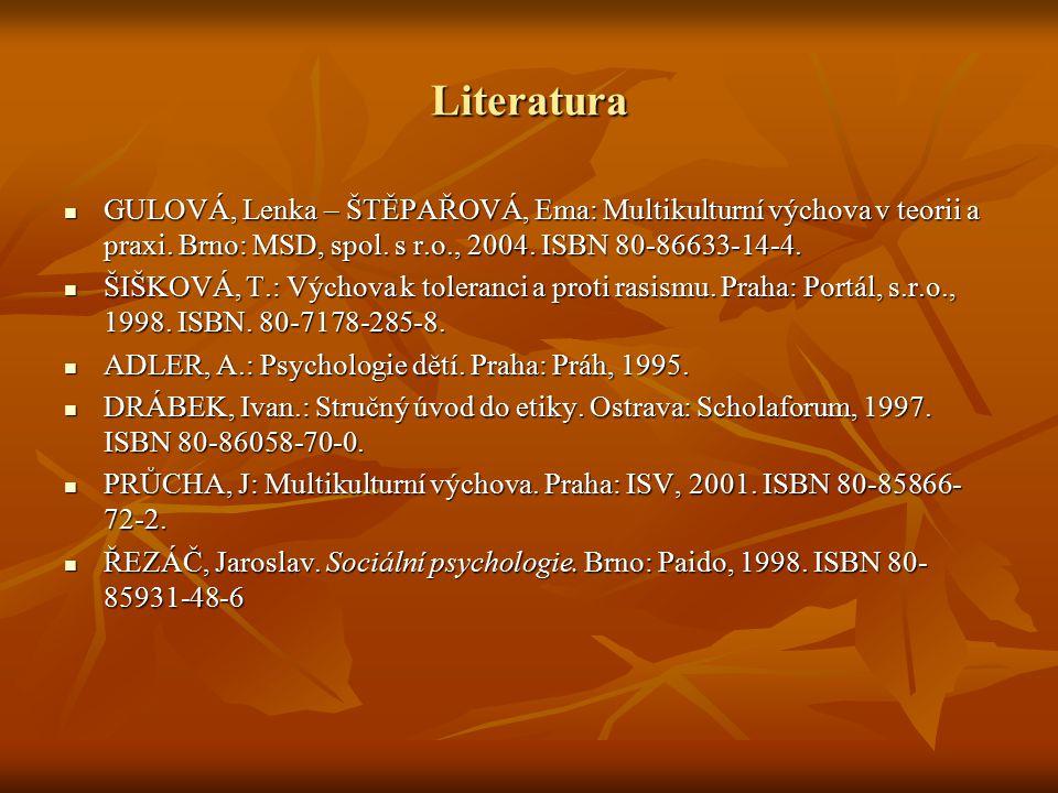 Literatura GULOVÁ, Lenka – ŠTĚPAŘOVÁ, Ema: Multikulturní výchova v teorii a praxi. Brno: MSD, spol. s r.o., 2004. ISBN 80-86633-14-4.