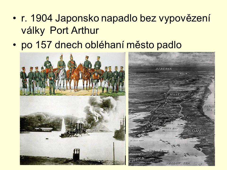 r. 1904 Japonsko napadlo bez vypovězení války Port Arthur