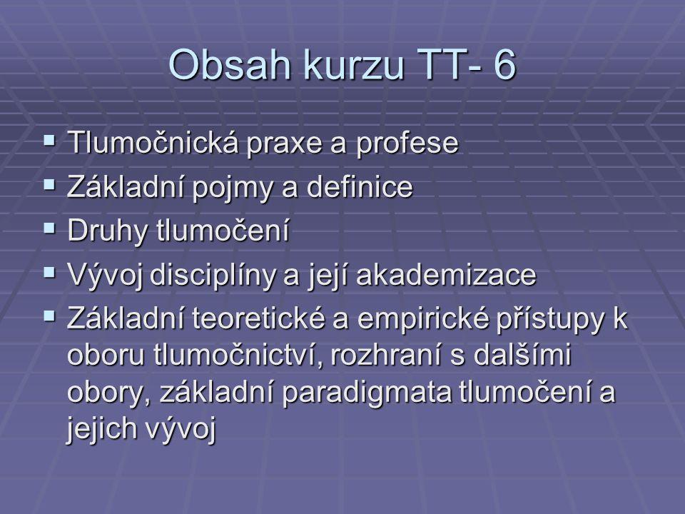 Obsah kurzu TT- 6 Tlumočnická praxe a profese