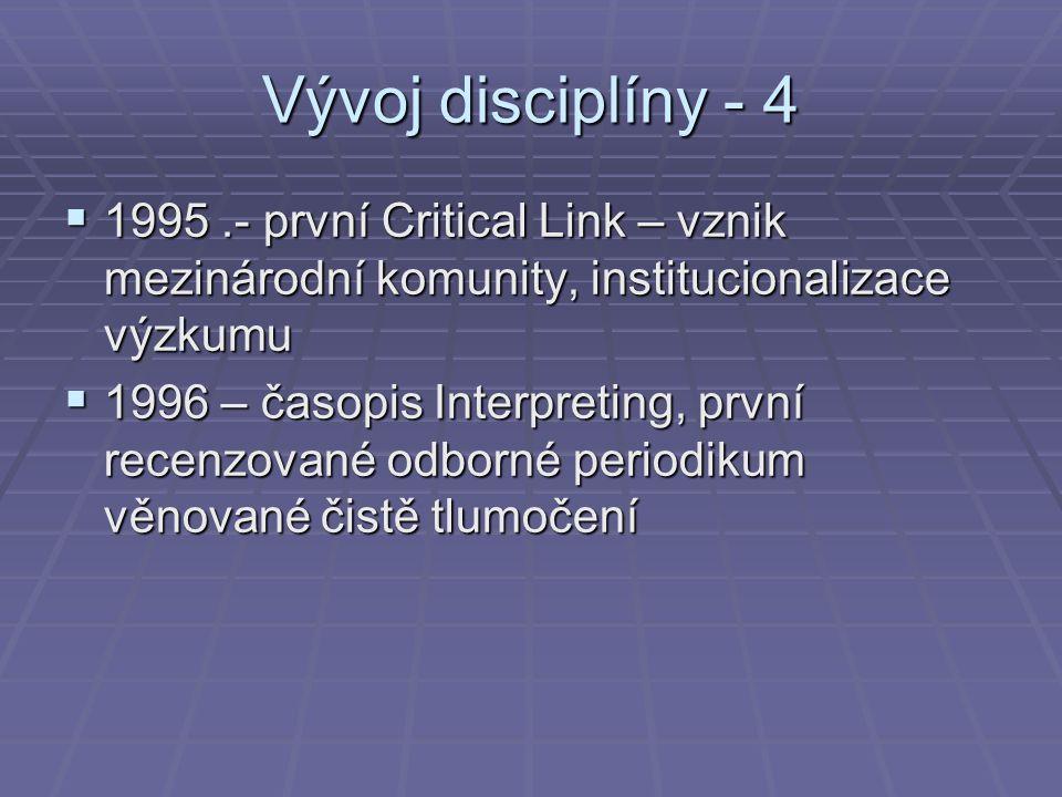 Vývoj disciplíny - 4 1995 .- první Critical Link – vznik mezinárodní komunity, institucionalizace výzkumu.