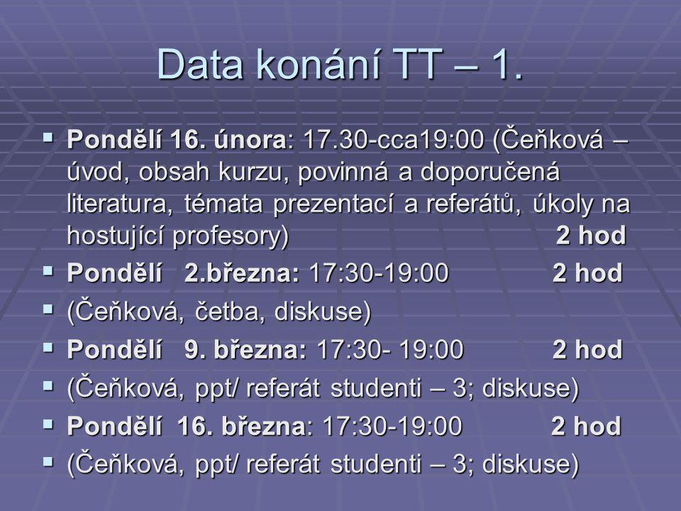 Data konání TT – 1.