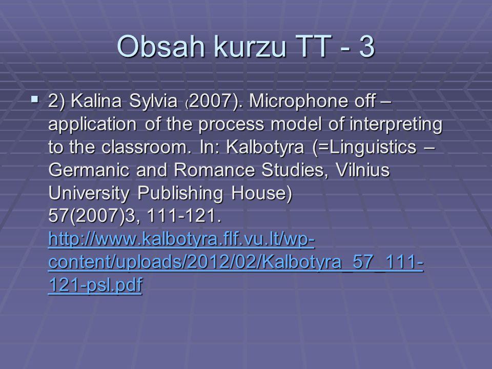 Obsah kurzu TT - 3