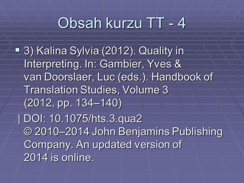 Obsah kurzu TT - 4