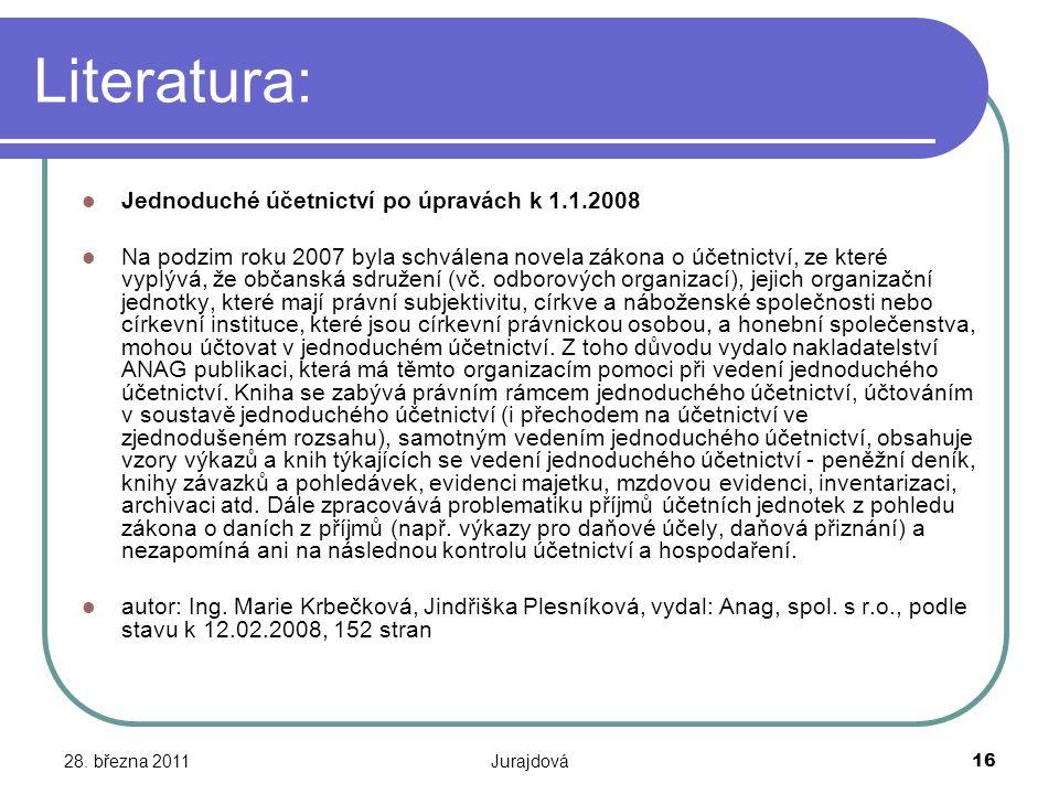 Literatura: Jednoduché účetnictví po úpravách k 1.1.2008