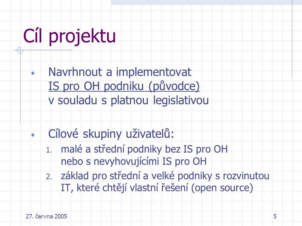 Cíl projektu Navrhnout a implementovat IS pro OH podniku (původce) v souladu s platnou legislativou.