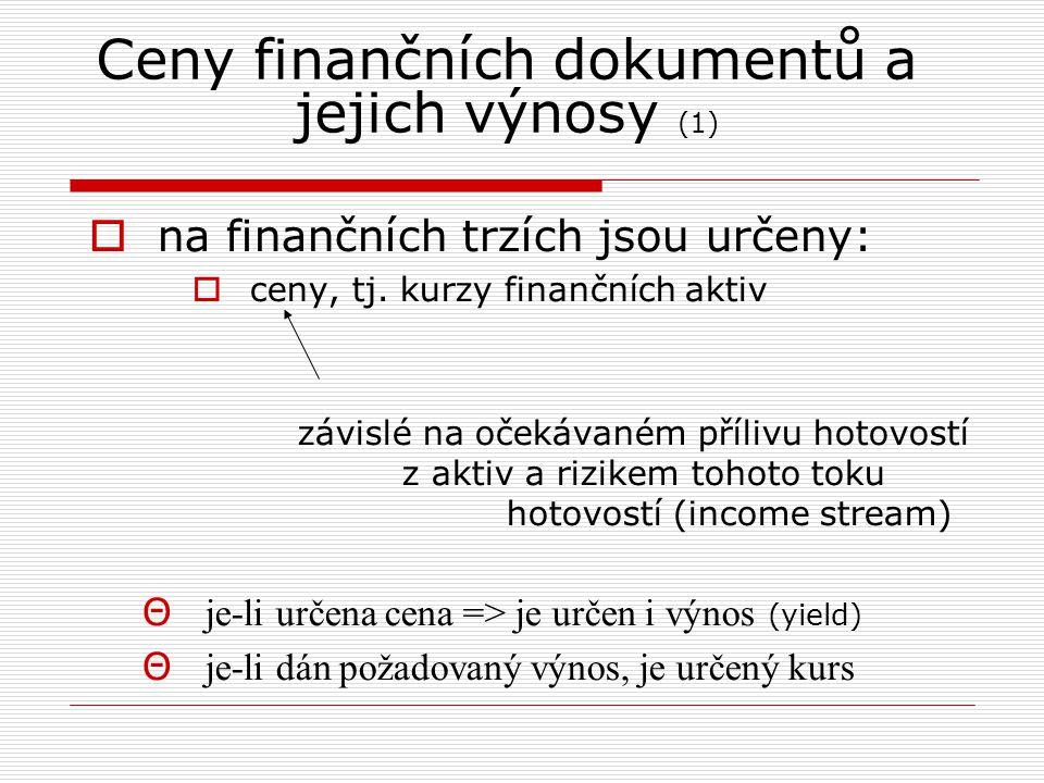 Ceny finančních dokumentů a jejich výnosy (1)