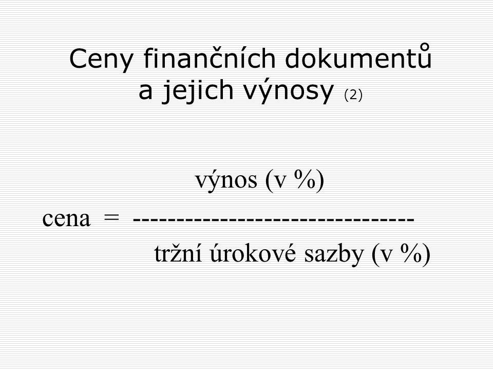 Ceny finančních dokumentů a jejich výnosy (2)