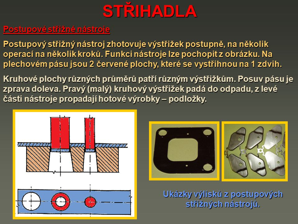 Ukázky výlisků z postupových střižných nástrojů.