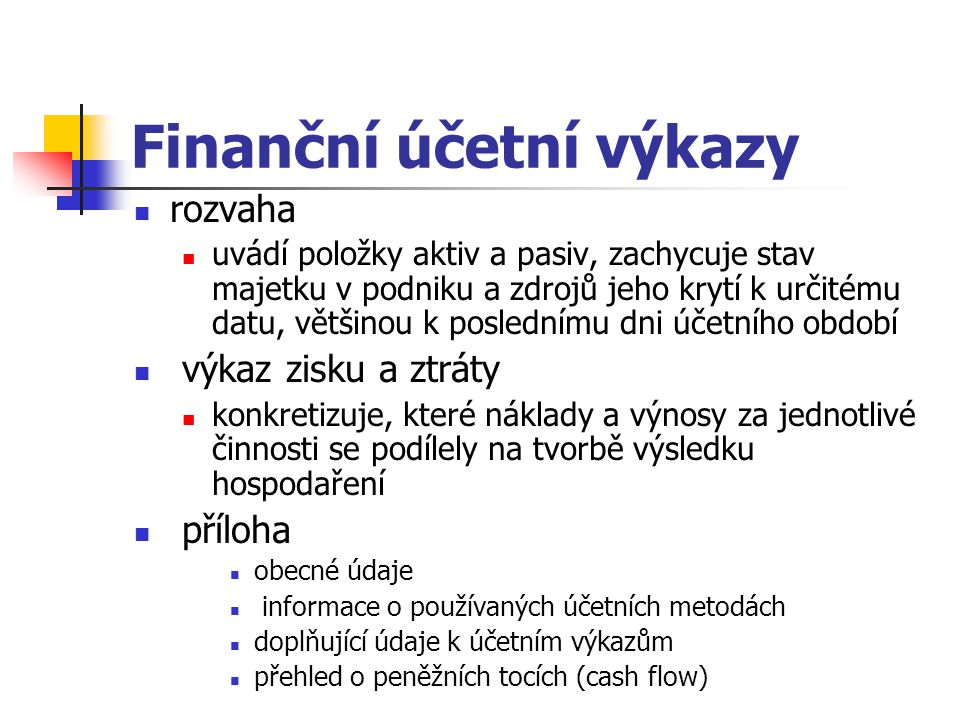 Finanční účetní výkazy