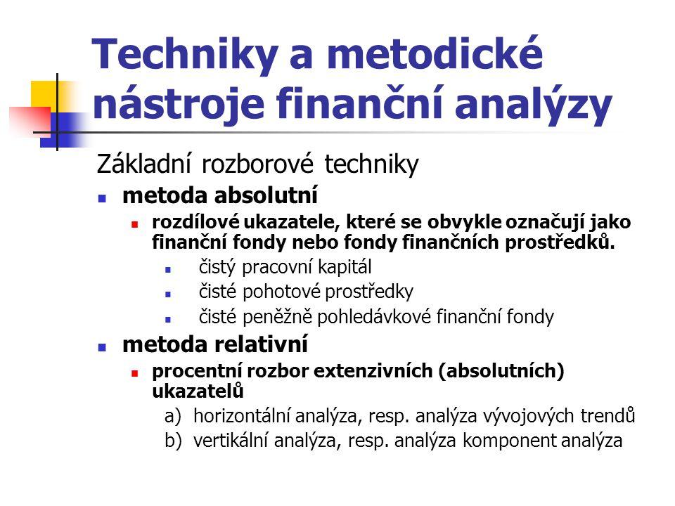 Techniky a metodické nástroje finanční analýzy