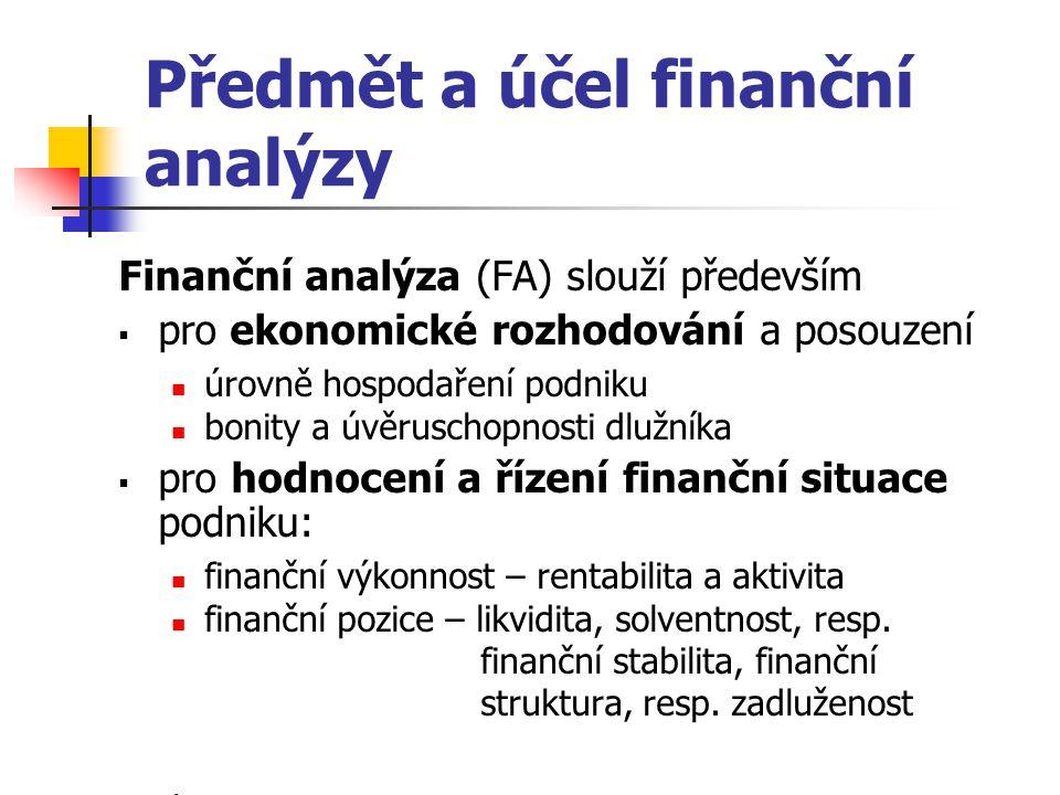Předmět a účel finanční analýzy