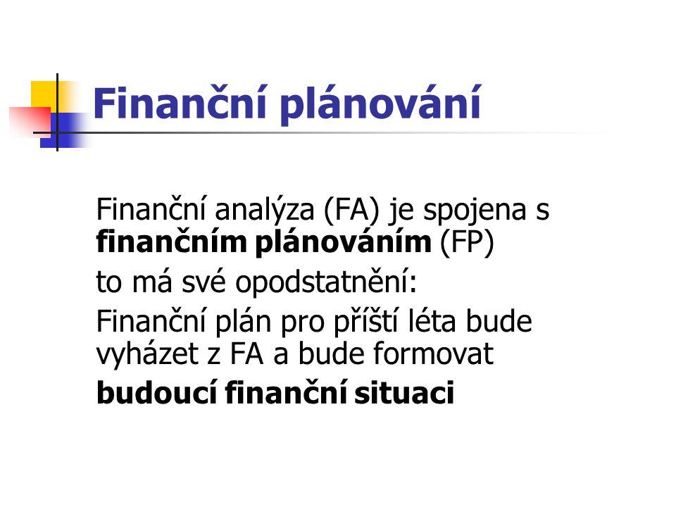 Finanční plánování Finanční analýza (FA) je spojena s finančním plánováním (FP) to má své opodstatnění:
