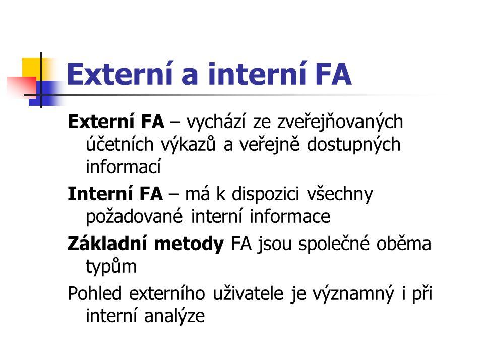 Externí a interní FA Externí FA – vychází ze zveřejňovaných účetních výkazů a veřejně dostupných informací.
