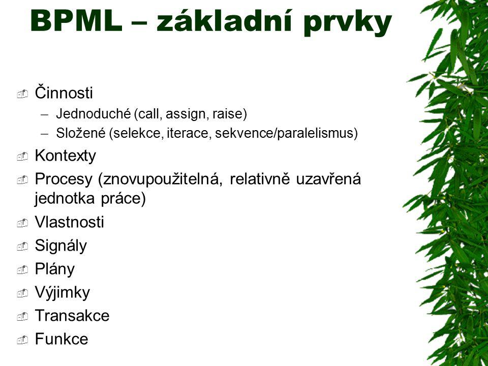 BPML – základní prvky Činnosti Kontexty