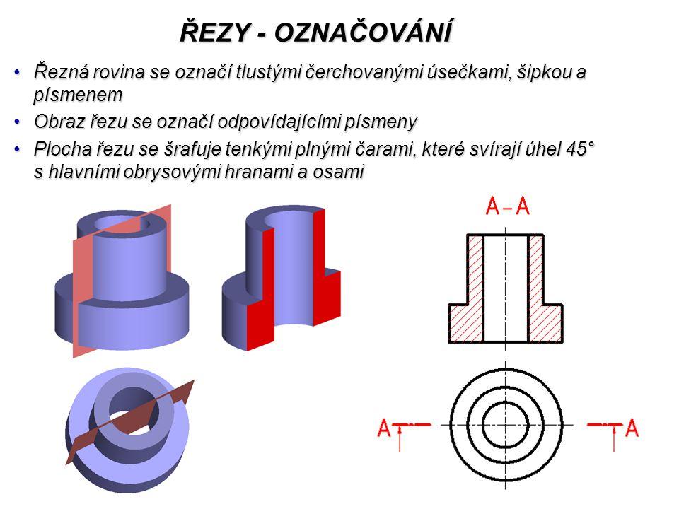 ŘEZY - OZNAČOVÁNÍ Řezná rovina se označí tlustými čerchovanými úsečkami, šipkou a písmenem. Obraz řezu se označí odpovídajícími písmeny.