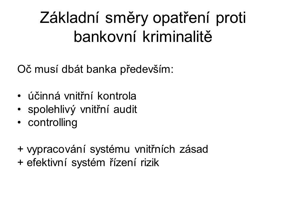 Základní směry opatření proti bankovní kriminalitě