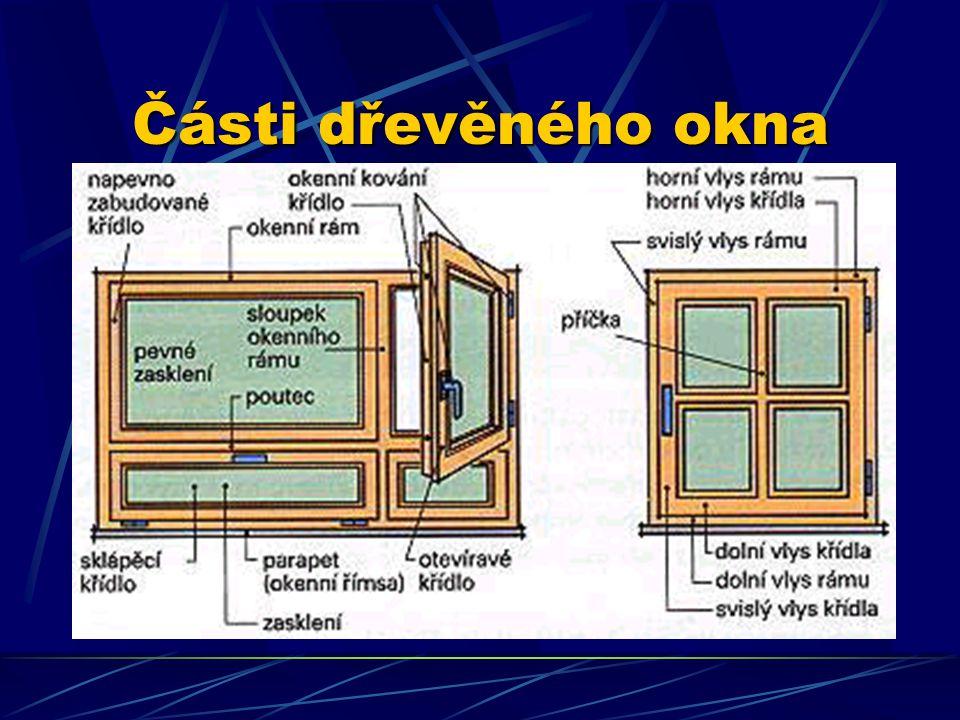 Části dřevěného okna