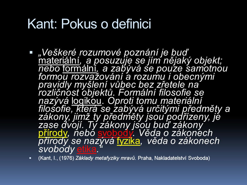 Kant: Pokus o definici
