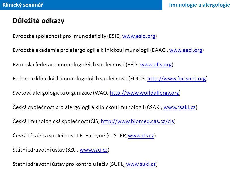 Důležité odkazy Klinický seminář Imunologie a alergologie