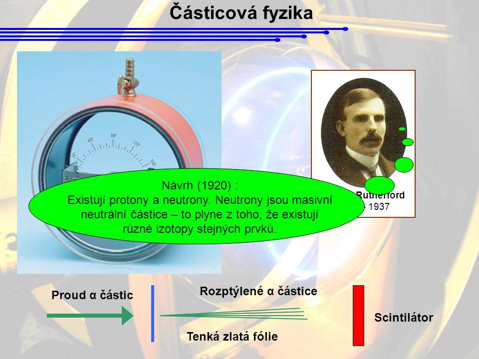 Částicová fyzika Návrh (1920) :