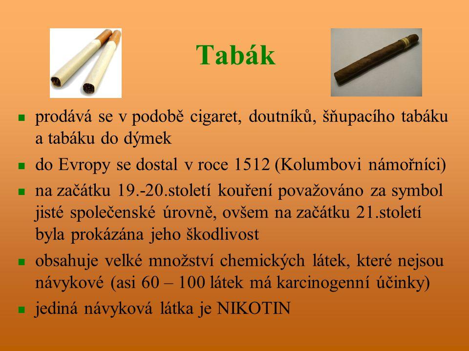 Tabák prodává se v podobě cigaret, doutníků, šňupacího tabáku a tabáku do dýmek. do Evropy se dostal v roce 1512 (Kolumbovi námořníci)