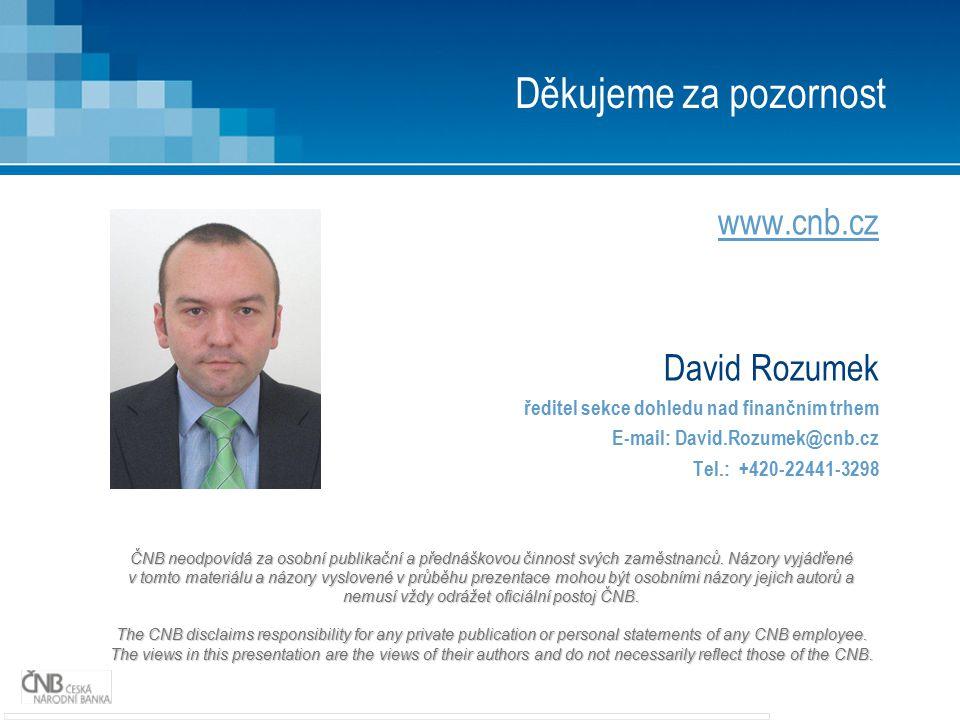 Děkujeme za pozornost www.cnb.cz David Rozumek