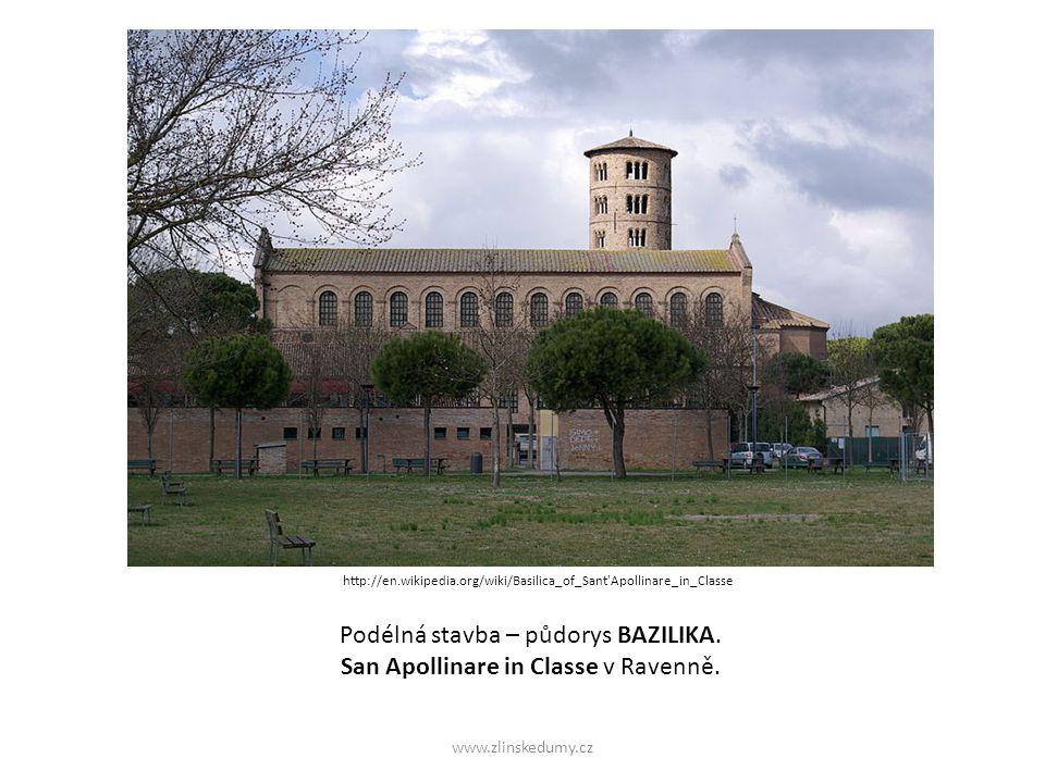 Podélná stavba – půdorys BAZILIKA. San Apollinare in Classe v Ravenně.
