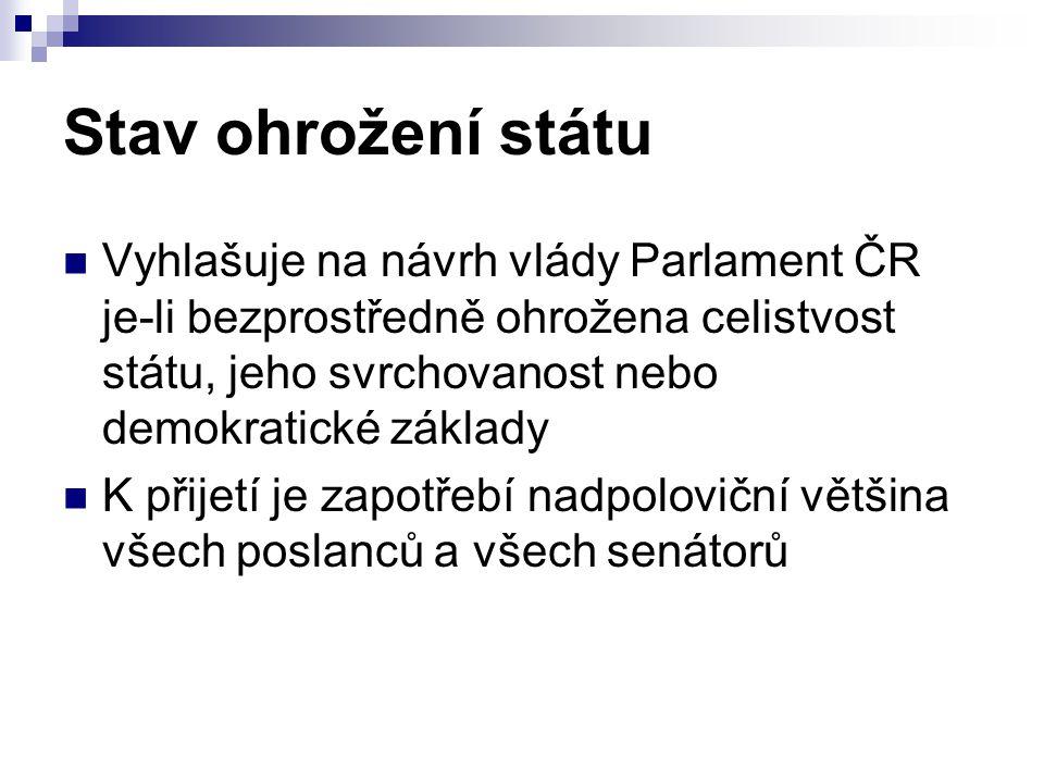 Stav ohrožení státu Vyhlašuje na návrh vlády Parlament ČR je-li bezprostředně ohrožena celistvost státu, jeho svrchovanost nebo demokratické základy.