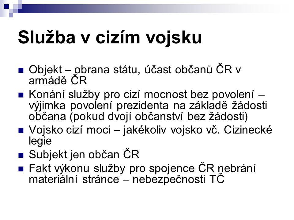 Služba v cizím vojsku Objekt – obrana státu, účast občanů ČR v armádě ČR.