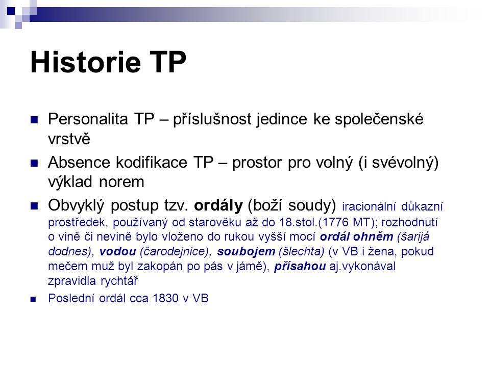 Historie TP Personalita TP – příslušnost jedince ke společenské vrstvě